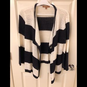 Ellen Tracy Open Front Navy/White Sweater